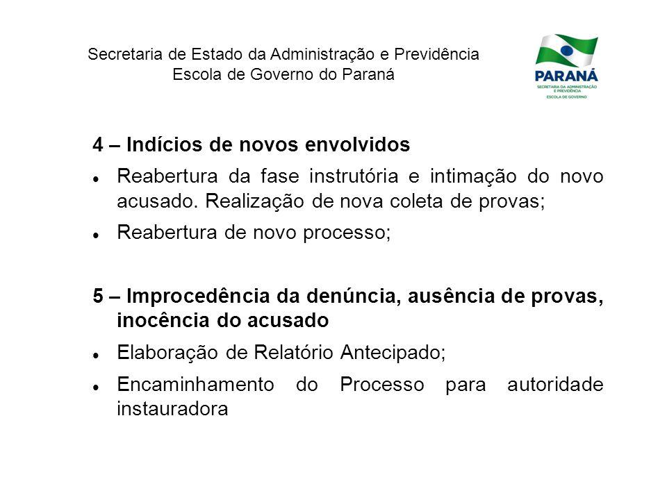Secretaria de Estado da Administração e Previdência Escola de Governo do Paraná 4 – Indícios de novos envolvidos Reabertura da fase instrutória e inti