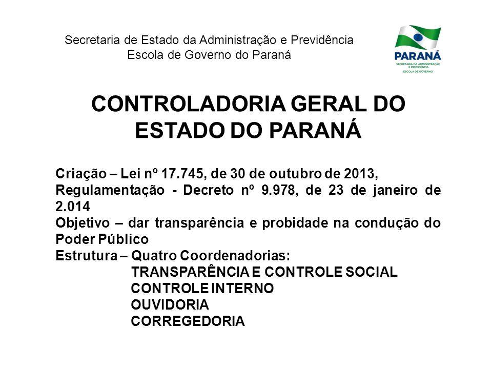 Secretaria de Estado da Administração e Previdência Escola de Governo do Paraná CONTROLADORIA GERAL DO ESTADO DO PARANÁ Criação – Lei nº 17.745, de 30
