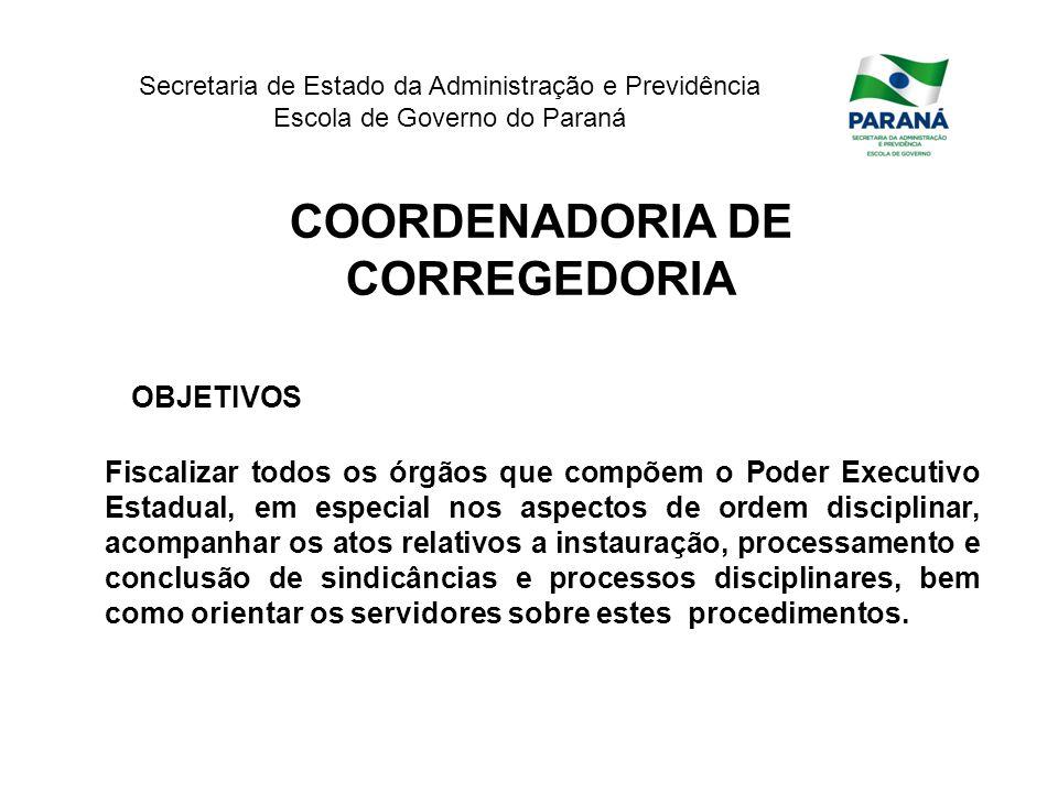 Secretaria de Estado da Administração e Previdência Escola de Governo do Paraná COORDENADORIA DE CORREGEDORIA OBJETIVOS Fiscalizar todos os órgãos que