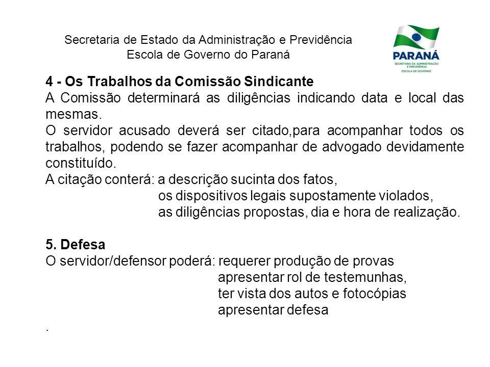 Secretaria de Estado da Administração e Previdência Escola de Governo do Paraná 4 - Os Trabalhos da Comissão Sindicante A Comissão determinará as dili