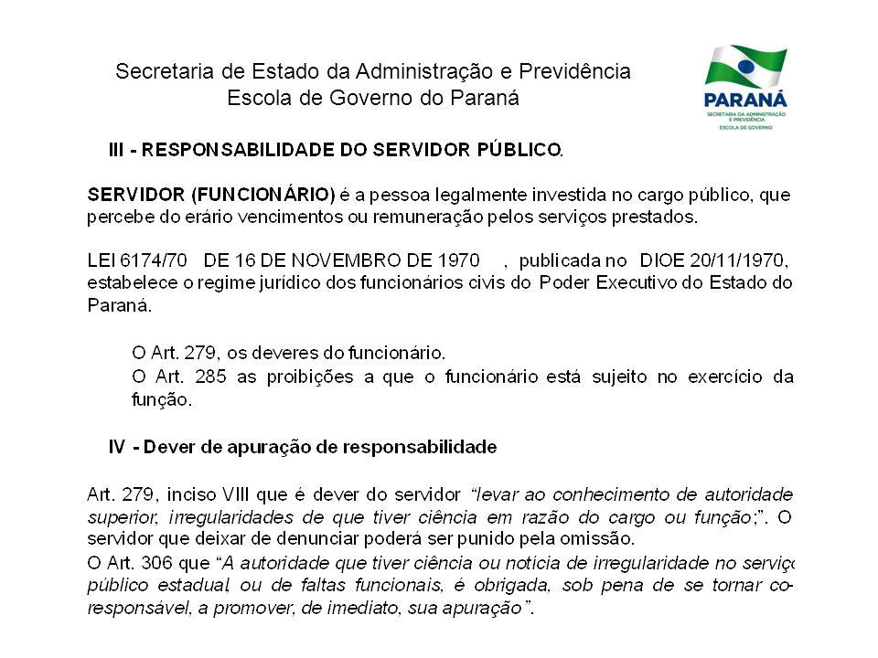 Secretaria de Estado da Administração e Previdência Escola de Governo do Paraná