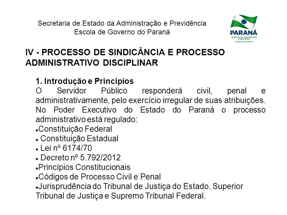 Secretaria de Estado da Administração e Previdência Escola de Governo do Paraná IV - PROCESSO DE SINDICÂNCIA E PROCESSO ADMINISTRATIVO DISCIPLINAR 1.