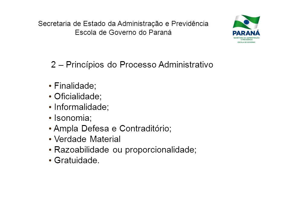Secretaria de Estado da Administração e Previdência Escola de Governo do Paraná 2 – Princípios do Processo Administrativo Finalidade; Oficialidade; In