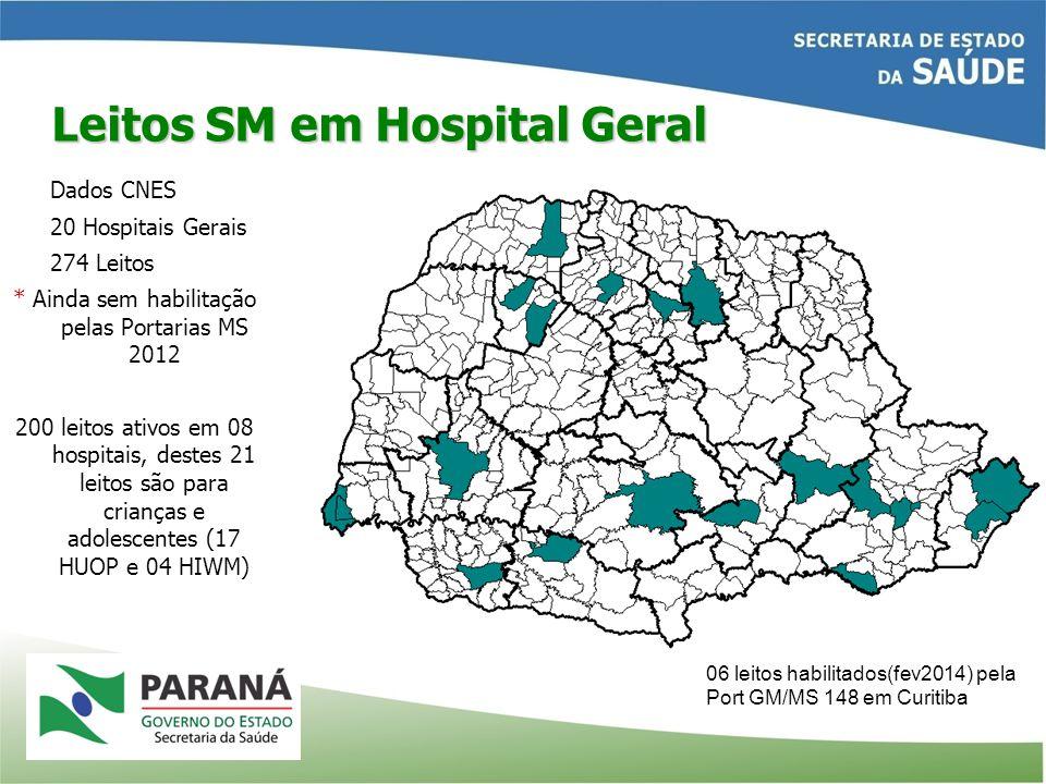 Leitos SM em Hospital Geral Dados CNES 20 Hospitais Gerais 274 Leitos * Ainda sem habilitação pelas Portarias MS 2012 200 leitos ativos em 08 hospitai