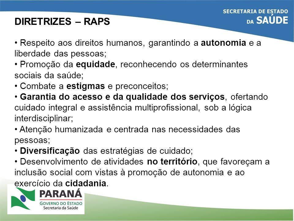 DIRETRIZES – RAPS Respeito aos direitos humanos, garantindo a autonomia e a liberdade das pessoas; Promoção da equidade, reconhecendo os determinantes