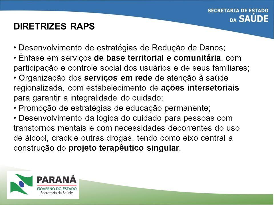 DIRETRIZES RAPS Desenvolvimento de estratégias de Redução de Danos; Ênfase em serviços de base territorial e comunitária, com participação e controle