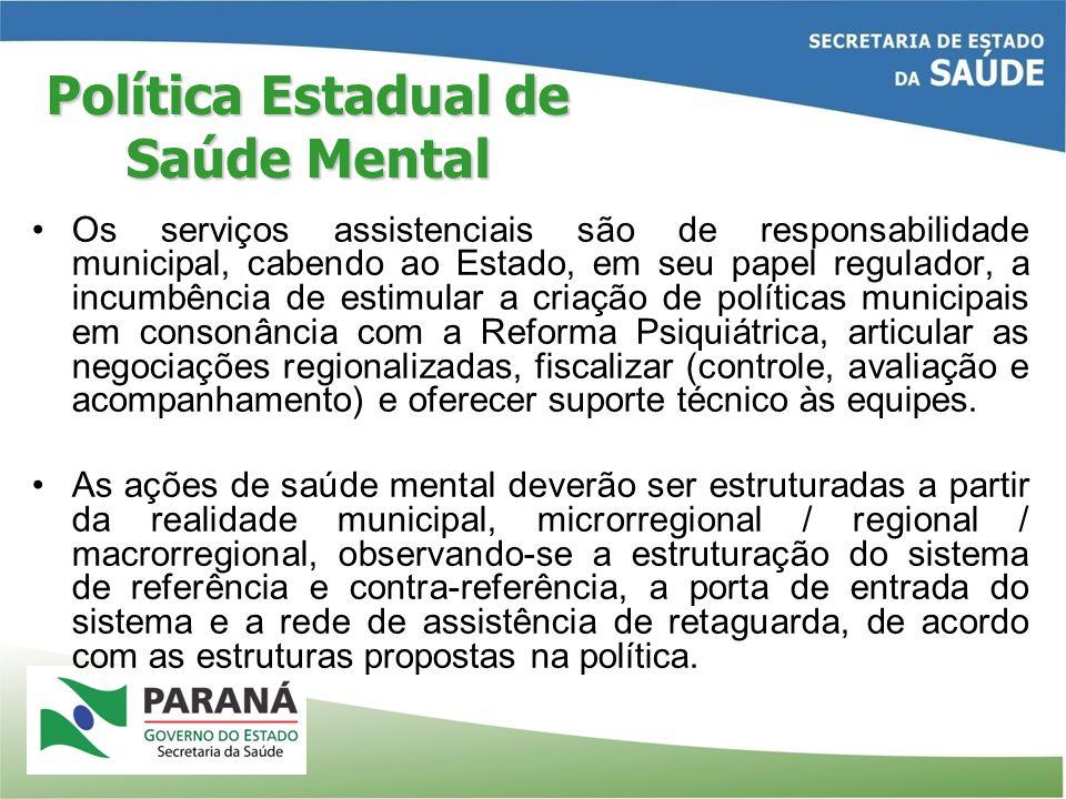 Os serviços assistenciais são de responsabilidade municipal, cabendo ao Estado, em seu papel regulador, a incumbência de estimular a criação de políti