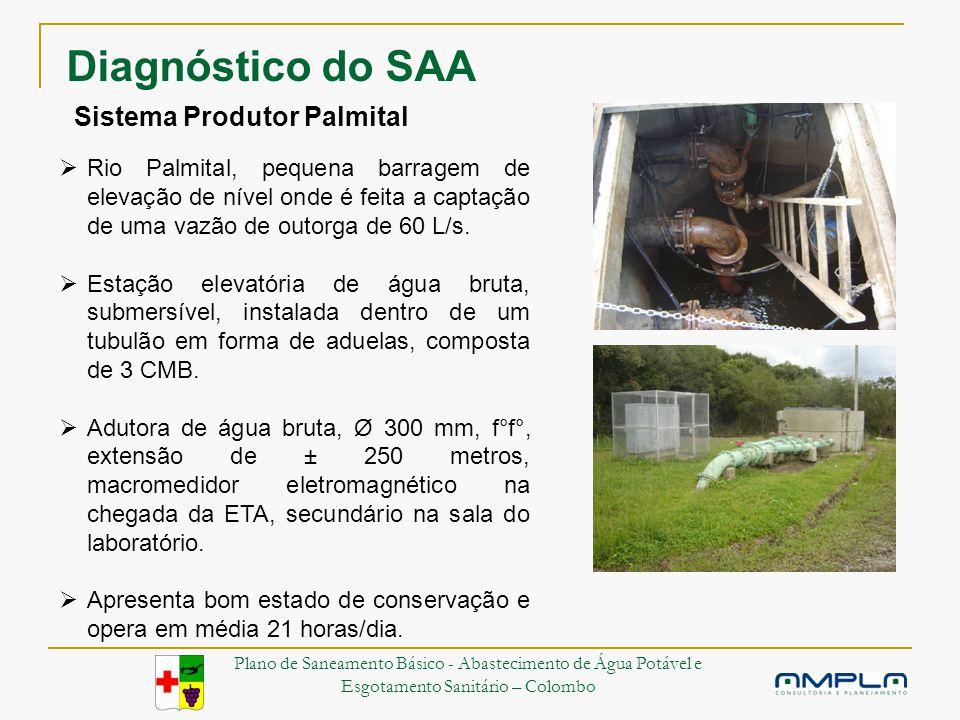 Sistema Produtor Palmital Rio Palmital, pequena barragem de elevação de nível onde é feita a captação de uma vazão de outorga de 60 L/s.
