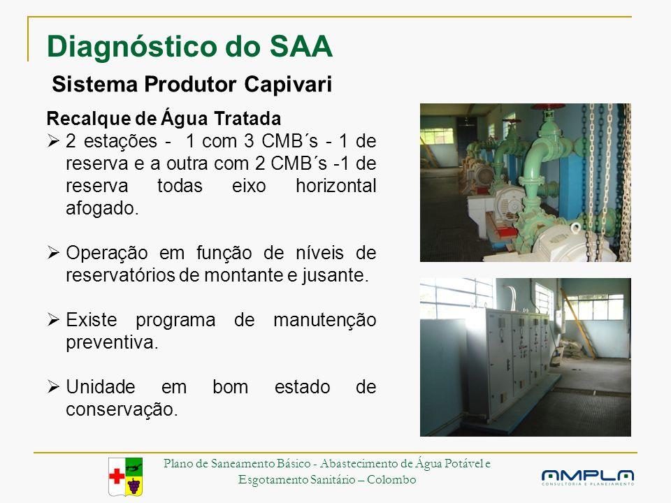 Sistema Produtor Capivari Recalque de Água Tratada 2 estações - 1 com 3 CMB´s - 1 de reserva e a outra com 2 CMB´s -1 de reserva todas eixo horizontal afogado.