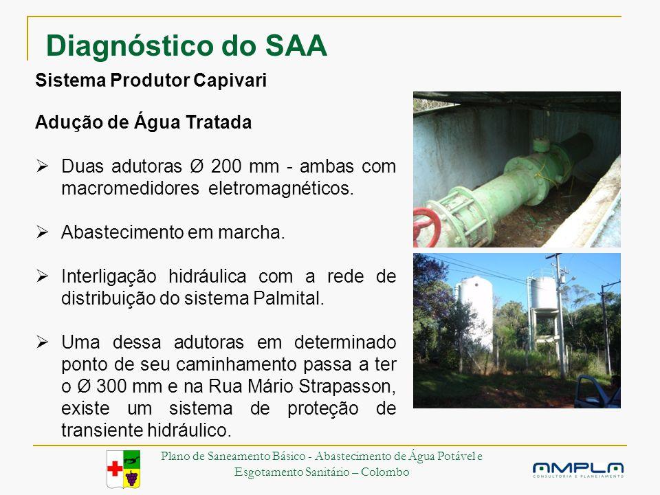 Sistema Produtor Capivari Adução de Água Tratada Duas adutoras Ø 200 mm - ambas com macromedidores eletromagnéticos.