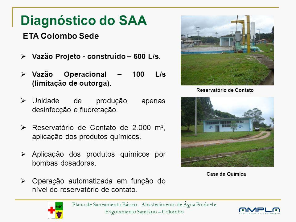 ETA Colombo Sede Vazão Projeto - construído – 600 L/s.