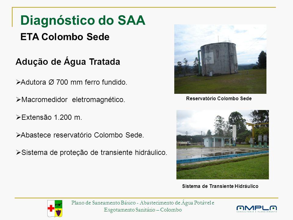 ETA Colombo Sede Adução de Água Tratada Adutora Ø 700 mm ferro fundido.