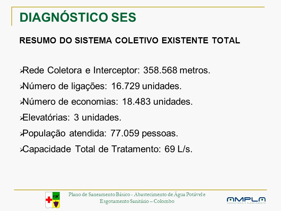 DIAGNÓSTICO SES RESUMO DO SISTEMA COLETIVO EXISTENTE TOTAL Rede Coletora e Interceptor: 358.568 metros.