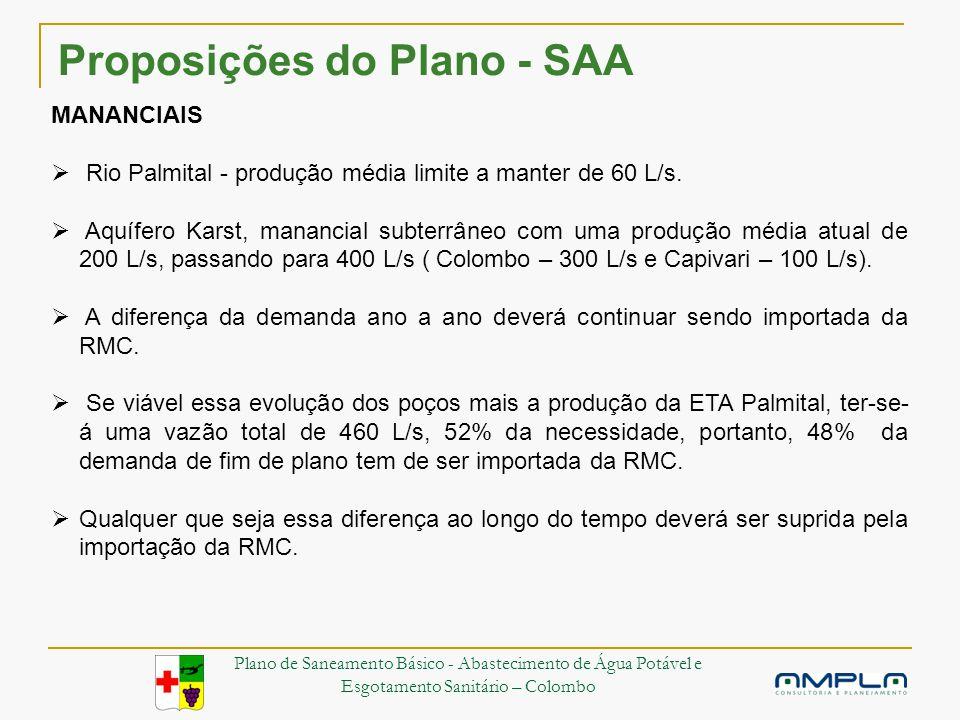 Proposições do Plano - SAA MANANCIAIS Rio Palmital - produção média limite a manter de 60 L/s.