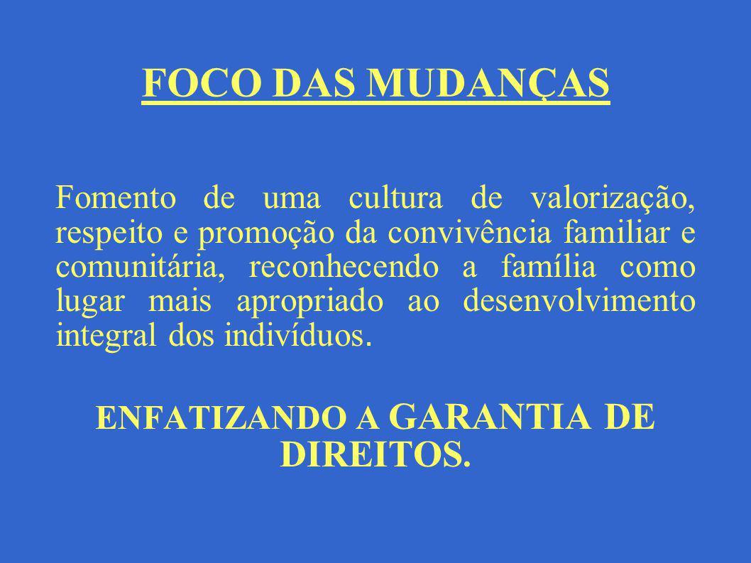 FOCO DAS MUDANÇAS Fomento de uma cultura de valorização, respeito e promoção da convivência familiar e comunitária, reconhecendo a família como lugar