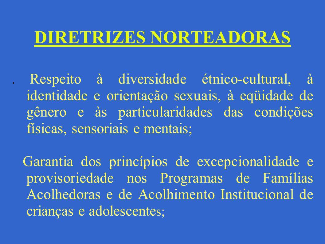 DIRETRIZES NORTEADORAS. Respeito à diversidade étnico-cultural, à identidade e orientação sexuais, à eqüidade de gênero e às particularidades das cond