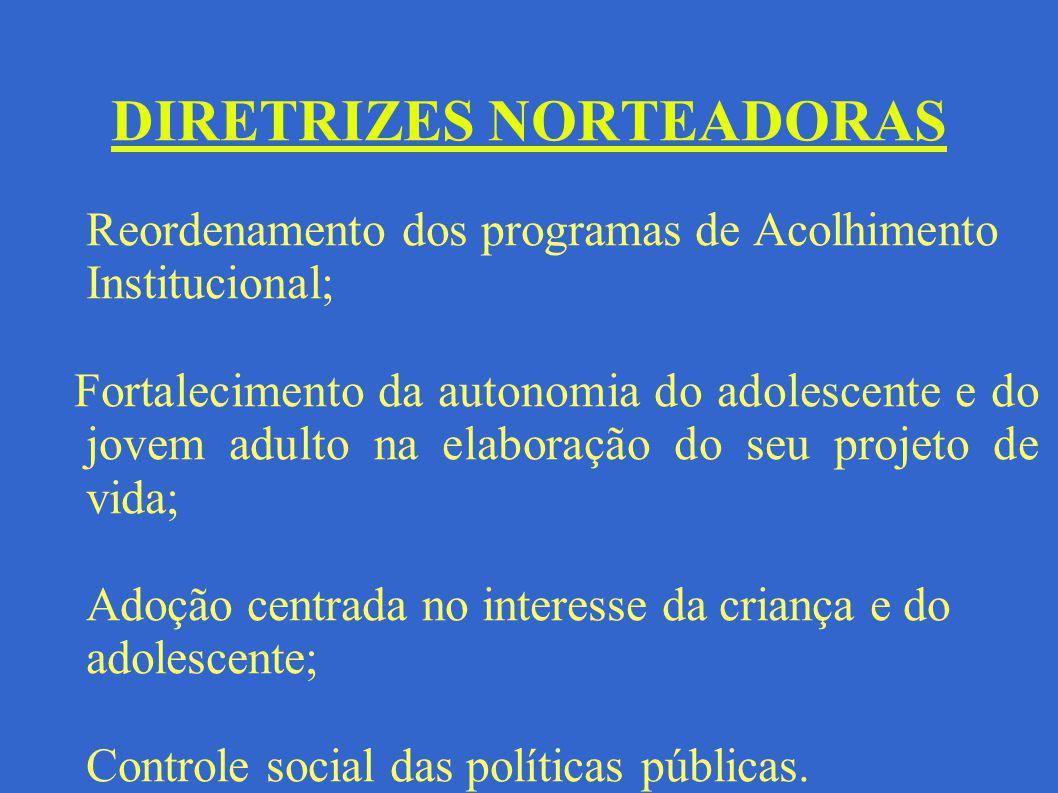 DIRETRIZES NORTEADORAS Reordenamento dos programas de Acolhimento Institucional; Fortalecimento da autonomia do adolescente e do jovem adulto na elabo