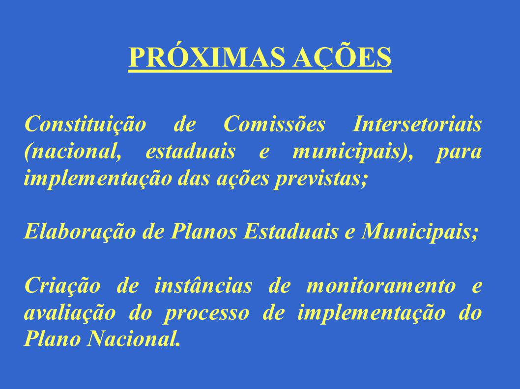 PRÓXIMAS AÇÕES Constituição de Comissões Intersetoriais (nacional, estaduais e municipais), para implementação das ações previstas; Elaboração de Plan