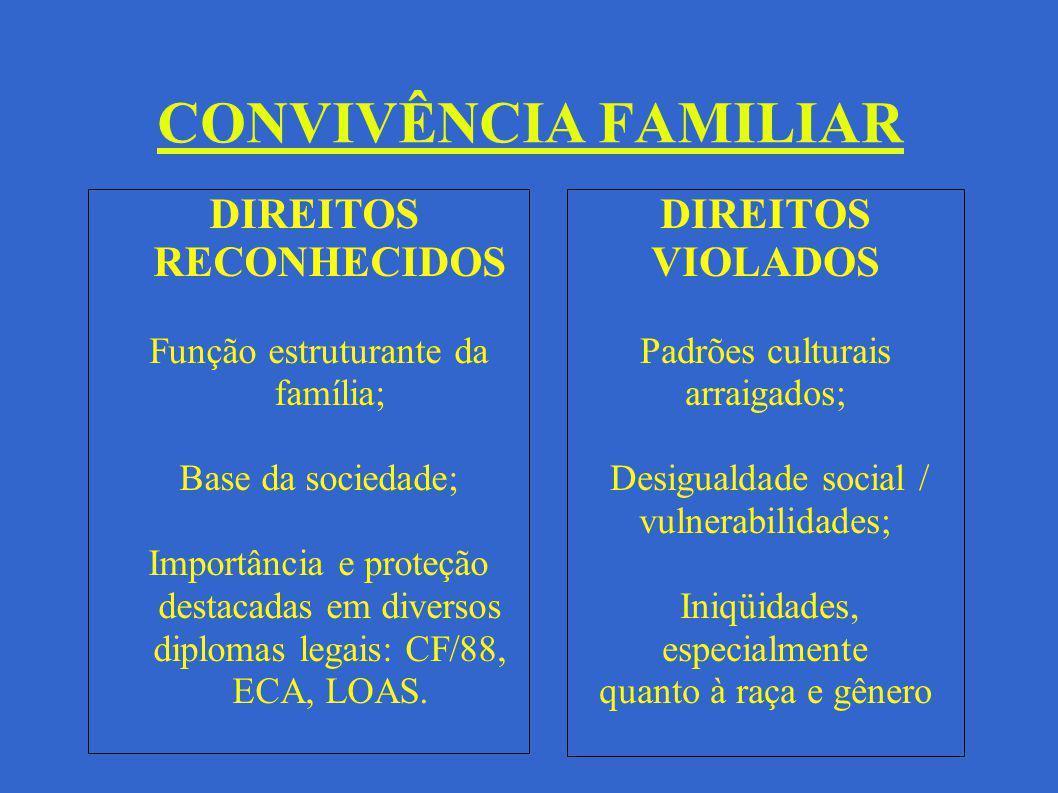 CONVIVÊNCIA FAMILIAR DIREITOS VIOLADOS Padrões culturais arraigados; Desigualdade social / vulnerabilidades; Iniqüidades, especialmente quanto à raça
