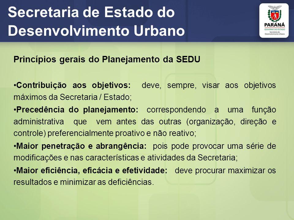 Secretaria de Estado do Desenvolvimento Urbano Princípios gerais do Planejamento da SEDU Contribuição aos objetivos: deve, sempre, visar aos objetivos