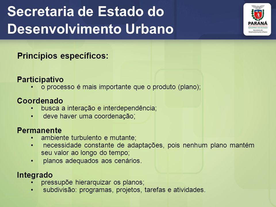 Secretaria de Estado do Desenvolvimento Urbano Princípios específicos: Participativo o processo é mais importante que o produto (plano); Coordenado bu