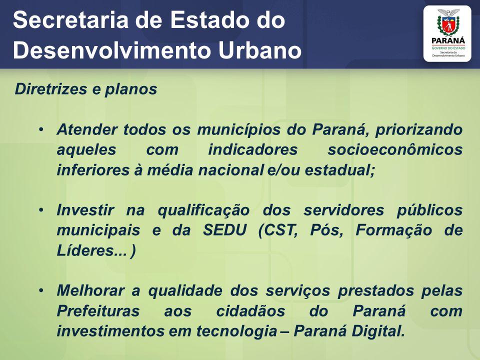 Secretaria de Estado do Desenvolvimento Urbano Diretrizes e planos Atender todos os municípios do Paraná, priorizando aqueles com indicadores socioeco