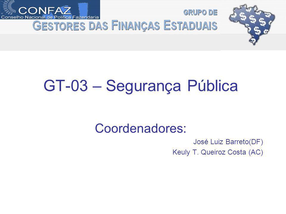 GT-03 – Segurança Pública Coordenadores: José Luiz Barreto(DF) Keuly T. Queiroz Costa (AC)