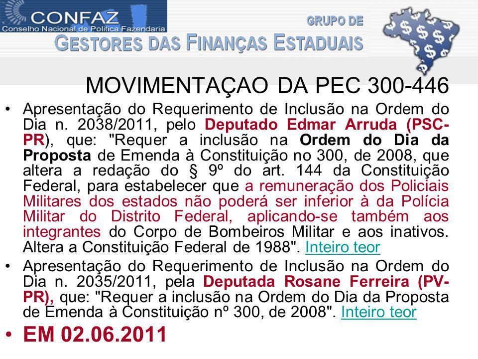 MOVIMENTAÇAO DA PEC 300-446 Apresentação do Requerimento de Inclusão na Ordem do Dia n.
