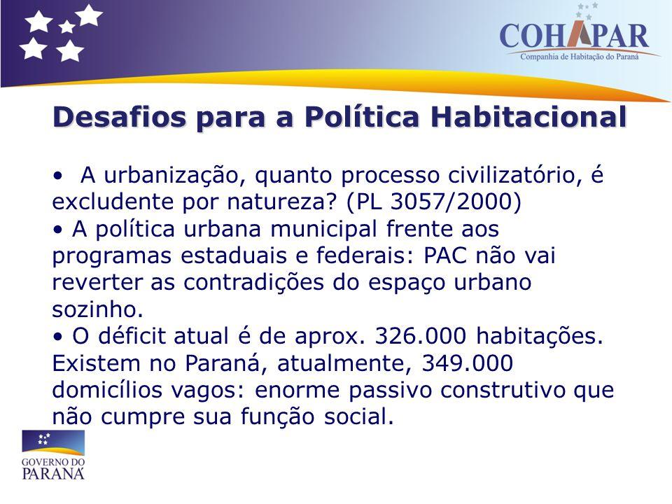 Desafios para a Política Habitacional A urbanização, quanto processo civilizatório, é excludente por natureza? (PL 3057/2000) A política urbana munici