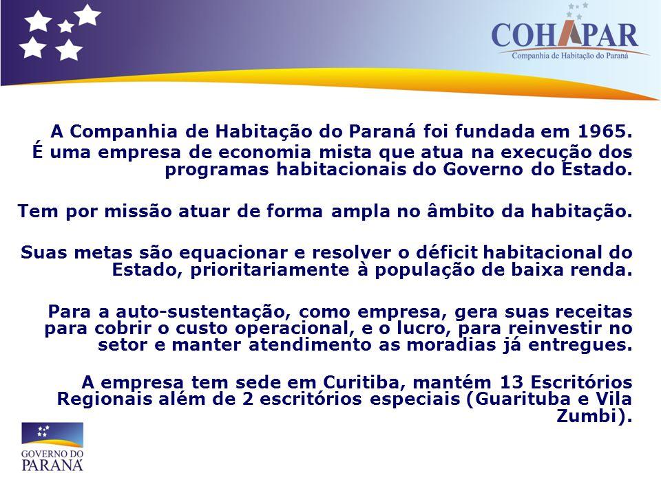 A Companhia de Habitação do Paraná foi fundada em 1965. É uma empresa de economia mista que atua na execução dos programas habitacionais do Governo do