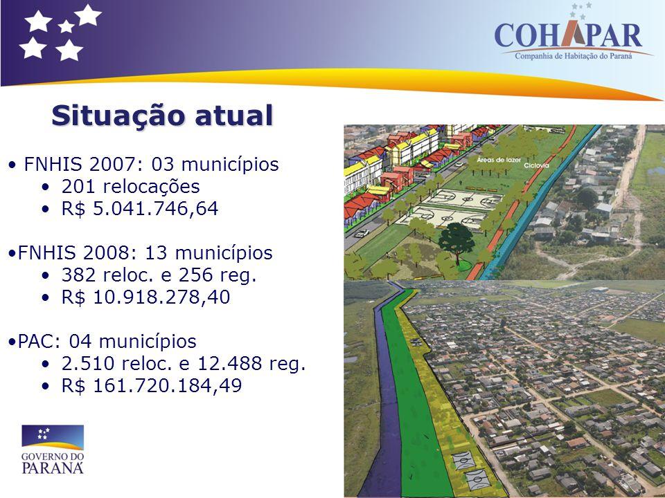 FNHIS 2007: 03 municípios 201 relocações R$ 5.041.746,64 FNHIS 2008: 13 municípios 382 reloc. e 256 reg. R$ 10.918.278,40 PAC: 04 municípios 2.510 rel