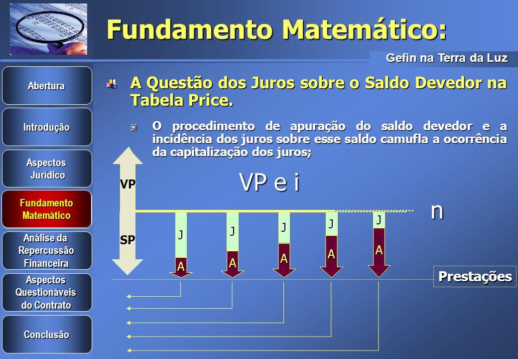 Gefin na Terra da Luz Introdução Aspectos Jurídico Jurídico Aspectos Questionáveis do Contrato do Contrato Análise da Análise da Repercussão Financeira Conclusão Fundamento Matemático Abertura Fundamento Matemático Fundamento Matemático Elaboração dos Termos Financeiros da Tabela Price Amortização = P – J => Amortização = P – J => A 1 = 2.121,58 – 200,00 A 1 = 2.121,58 – 200,00 A 1 = 1.921,58 A 1 = 1.921,58 A 2 = 2.121,58 – 161,57 A 2 = 2.121,58 – 161,57 A 2 = 1.960,02 A 2 = 1.960,02 A JJJJJ A A A A P=2.121,58 VP=10.000,00N=5i=2% Juros n : i x SD n-1 => J 1 =0,02 x 10.000,00 = 200,00 J 1 =0,02 x 10.000,00 = 200,00 J 2 =0,02 x 8.078,42 = 161,57 J 2 =0,02 x 8.078,42 = 161,57