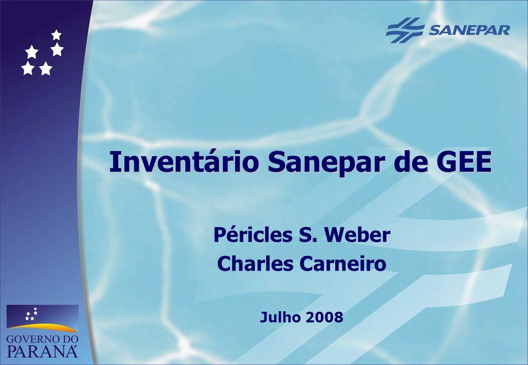 1 Inventário Sanepar de GEE Péricles S. Weber Charles Carneiro Julho 2008