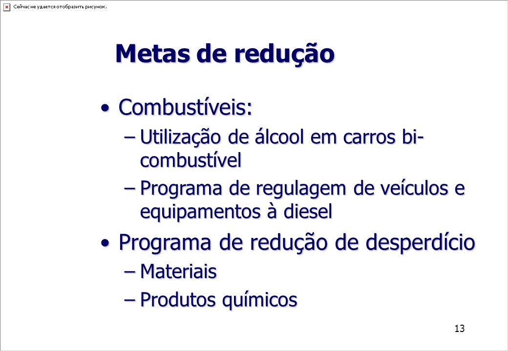 13 Combustíveis:Combustíveis: –Utilização de álcool em carros bi- combustível –Programa de regulagem de veículos e equipamentos à diesel Programa de r