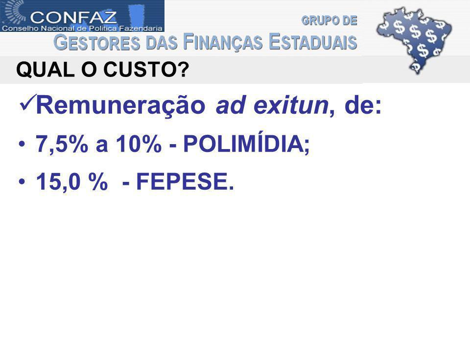 QUAL O CUSTO? Remuneração ad exitun, de: 7,5% a 10% - POLIMÍDIA; 15,0 % - FEPESE.