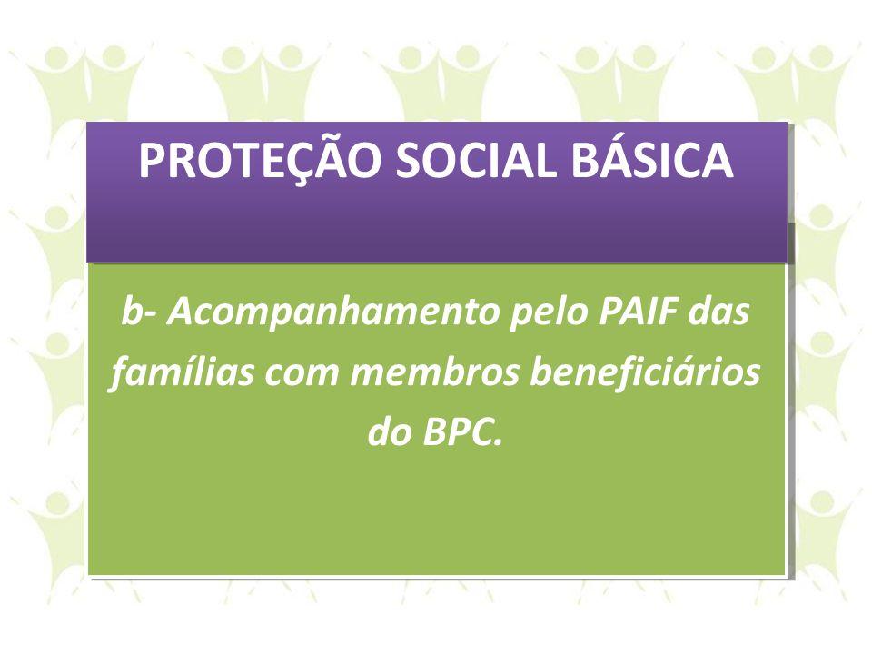 b- Acompanhamento pelo PAIF das famílias com membros beneficiários do BPC. b- Acompanhamento pelo PAIF das famílias com membros beneficiários do BPC.