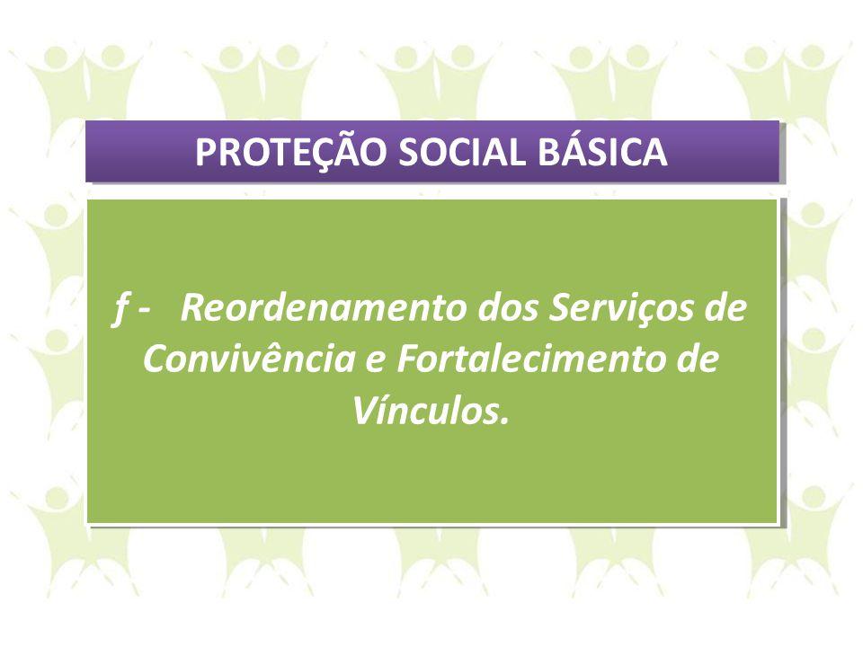 f - Reordenamento dos Serviços de Convivência e Fortalecimento de Vínculos. f - Reordenamento dos Serviços de Convivência e Fortalecimento de Vínculos