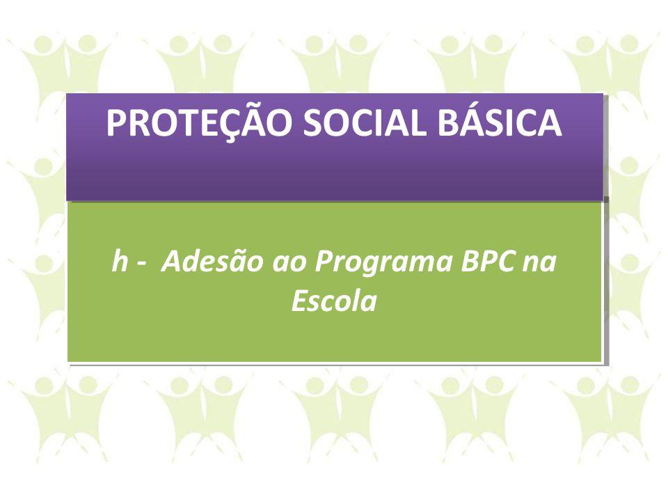 h - Adesão ao Programa BPC na Escola h - Adesão ao Programa BPC na Escola PROTEÇÃO SOCIAL BÁSICA