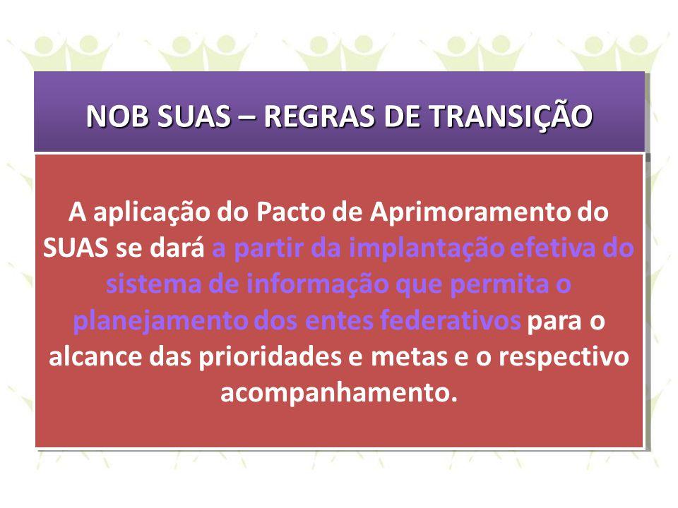 NOB SUAS – REGRAS DE TRANSIÇÃO A aplicação do Pacto de Aprimoramento do SUAS se dará a partir da implantação efetiva do sistema de informação que perm
