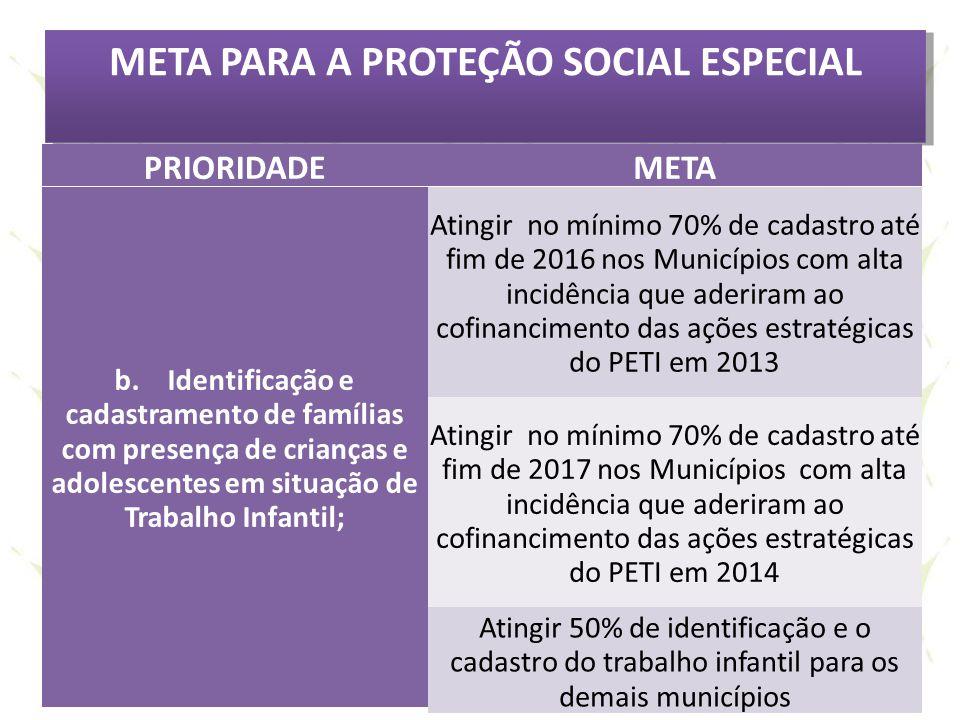 META PARA A PROTEÇÃO SOCIAL ESPECIAL PRIORIDADEMETA b. Identificação e cadastramento de famílias com presença de crianças e adolescentes em situação d
