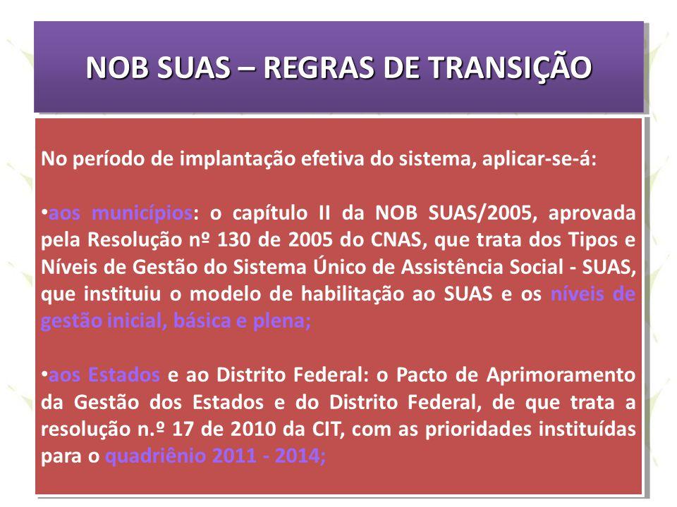 NOB SUAS – REGRAS DE TRANSIÇÃO No período de implantação efetiva do sistema, aplicar-se-á: aos municípios: o capítulo II da NOB SUAS/2005, aprovada pe