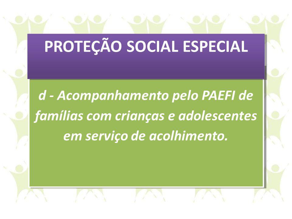 d - Acompanhamento pelo PAEFI de famílias com crianças e adolescentes em serviço de acolhimento. d - Acompanhamento pelo PAEFI de famílias com criança