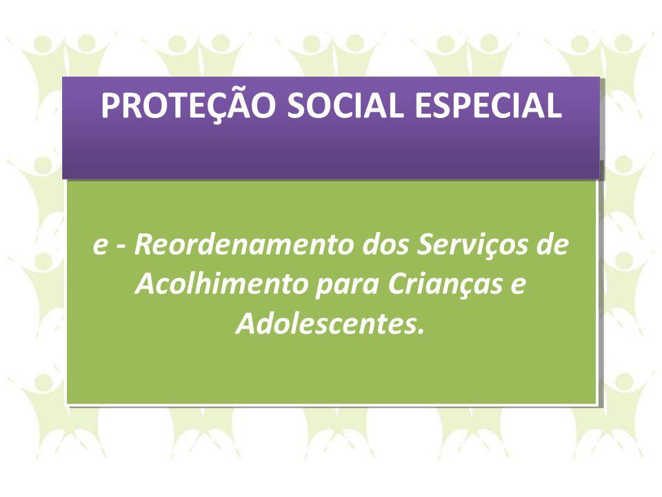 e - Reordenamento dos Serviços de Acolhimento para Crianças e Adolescentes. e - Reordenamento dos Serviços de Acolhimento para Crianças e Adolescentes