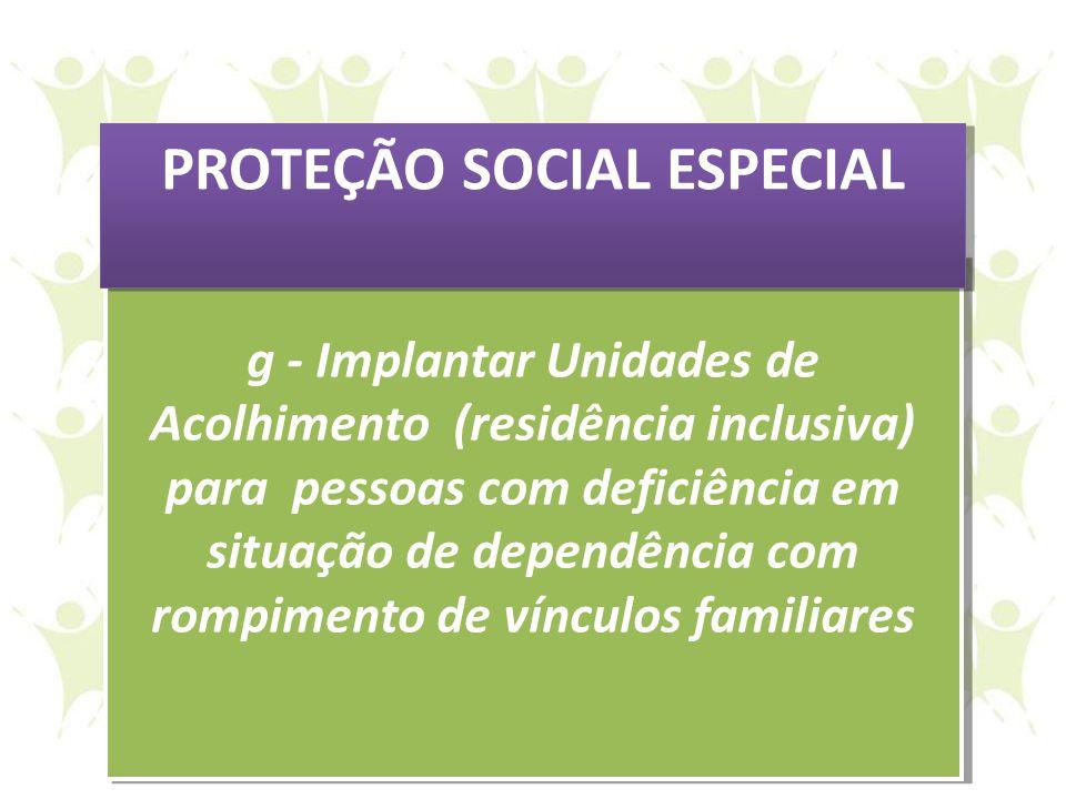 g - Implantar Unidades de Acolhimento (residência inclusiva) para pessoas com deficiência em situação de dependência com rompimento de vínculos famili