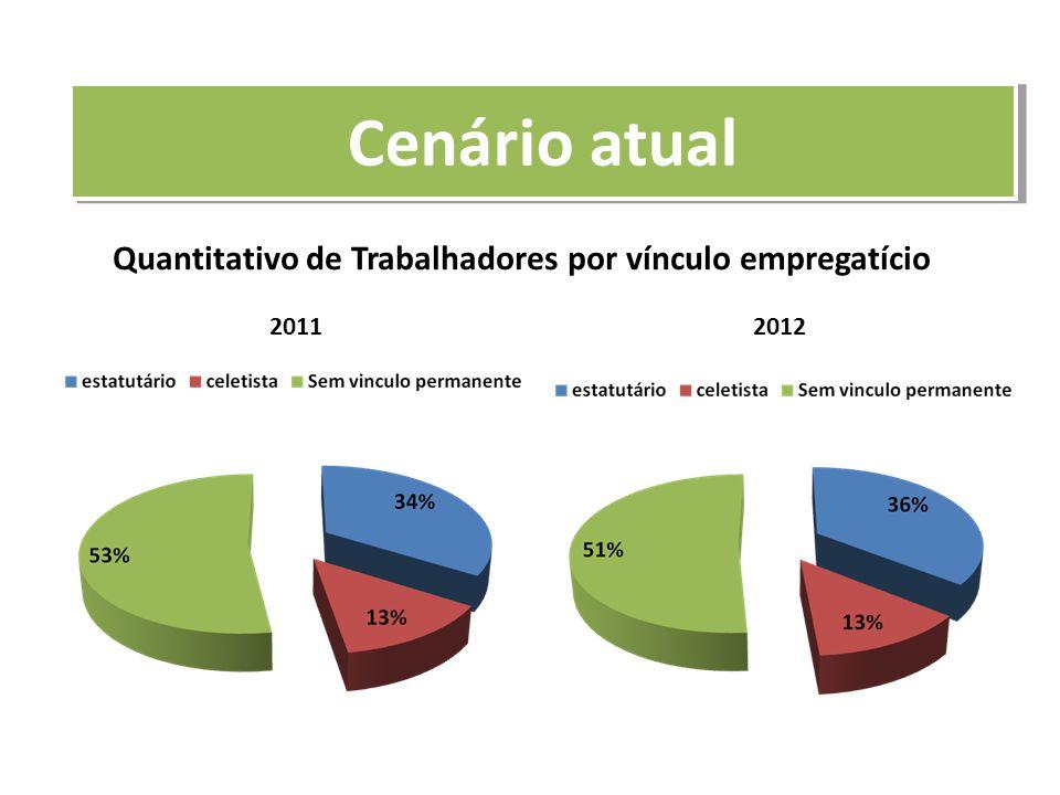 Quantitativo de Trabalhadores por vínculo empregatício 20112012 Cenário atual