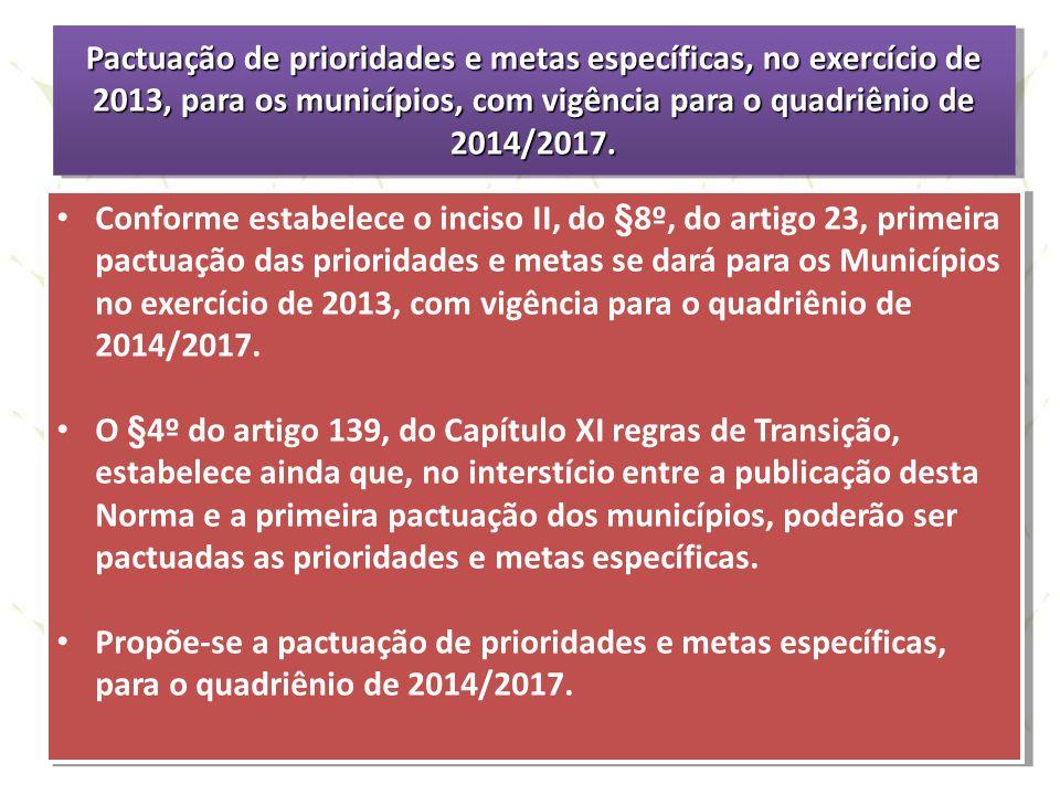 Pactuação de prioridades e metas específicas, no exercício de 2013, para os municípios, com vigência para o quadriênio de 2014/2017. Conforme estabele