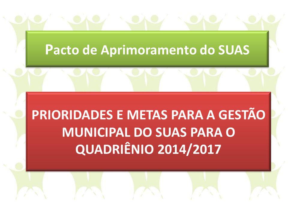 PRIORIDADES E METAS PARA A GESTÃO MUNICIPAL DO SUAS PARA O QUADRIÊNIO 2014/2017 P acto de Aprimoramento do SUAS