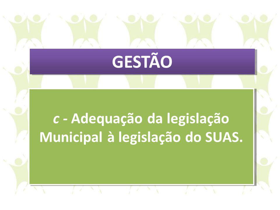 c - Adequação da legislação Municipal à legislação do SUAS. c - Adequação da legislação Municipal à legislação do SUAS. GESTÃO
