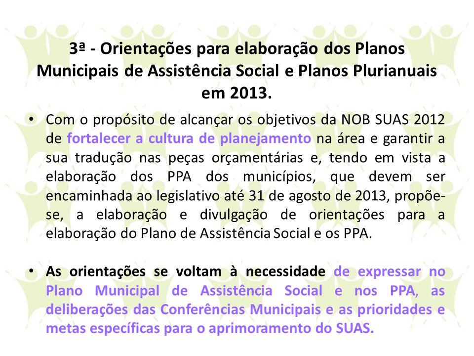 3ª - Orientações para elaboração dos Planos Municipais de Assistência Social e Planos Plurianuais em 2013. Com o propósito de alcançar os objetivos da