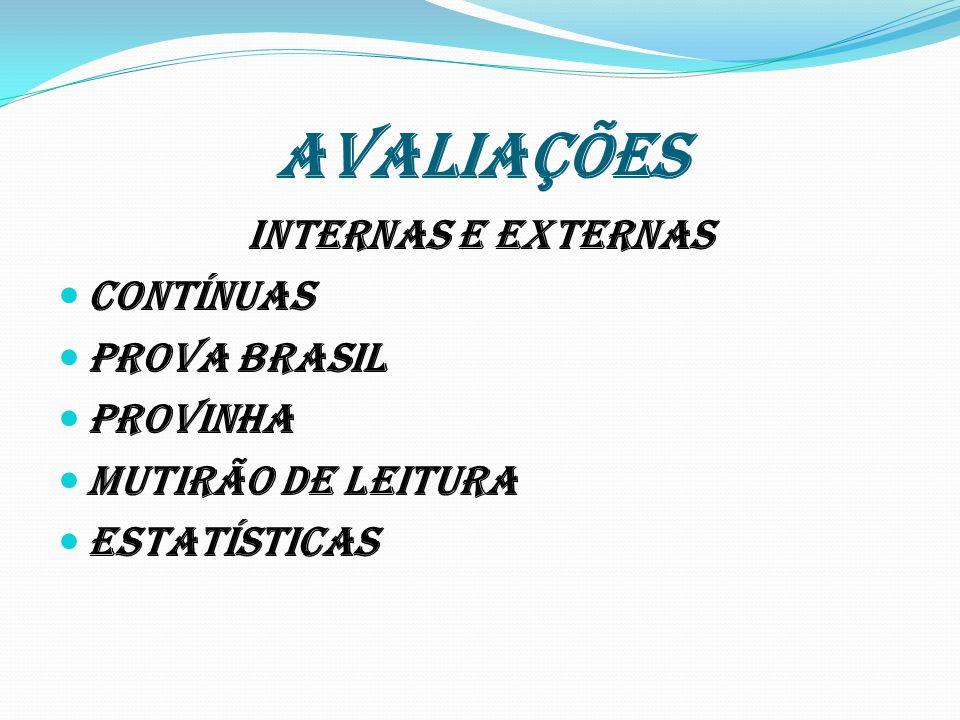 AVALIAÇÕES INTERNAS E EXTERNAS CONTÍNUAS PROVA BRASIL PROVINHA MUTIRÃO DE LEITURA ESTATÍSTICAS
